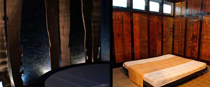 Izquierda, habitación Lunaria - Contrada senza nome, de Vincenzo Consolo, Ute Pika y Umberto Leone. Derecha, Mare Negato, de Fabrizio Plessi