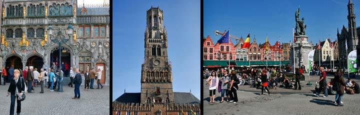 Izquierda, Plaza del Ayuntamiento (Burg); centro, Atalaya de Brujas; derecha, la plaza Grote Markt con la escultura dedicada a los héroes nacionales, Jan Breydel y Pieter de Conninck