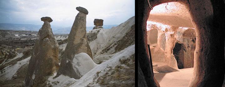 Izquierda, tres chimeneas de hadas llamadas las tres bellas (cerca de la localidad de Ürgüp); Derecha, una de las muchas ciudades subterráneas de la Capadocia