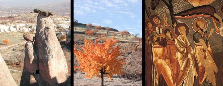 Izquierda, las tres bellas; Centro, albaricoquero; Derecha; icono del museo del aire libre de Göreme.