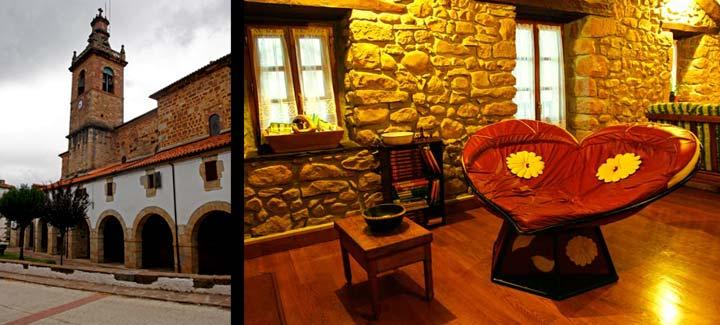 Izquierda, iglesia de Arizkun. Derecha, Casa Gontzea cuenta con un acogedor salón.