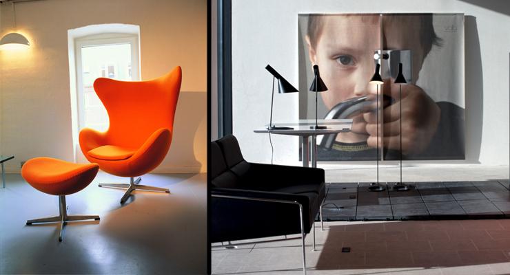 Izquierda, silla hormiga de Arne Jacobsen. Derecha, sala del Centro de Diseño Danés © VisitDenmark