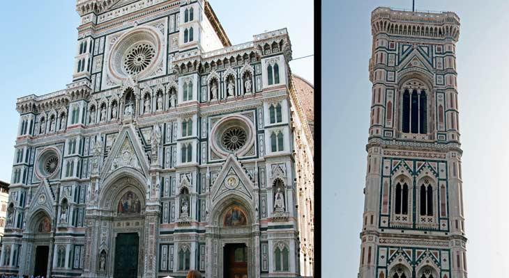 Izquierda, basílica de Santa María dei Fiore. Derecha, campanario de Giotto