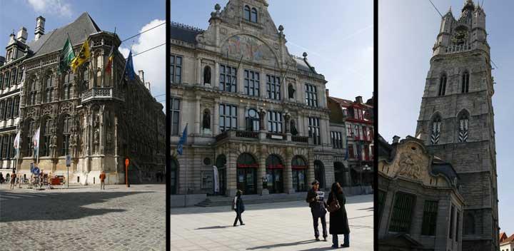 De izquierda a derecha: Ayuntamiento de Gante, Teatro Municipal y Torre de la Catedral de San Bavón