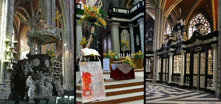 De izquierda a derecha: Púlpito de la Catedral de San Bavón, Altar Mayor y Capilla Adyacente donde se encuentra la réplica del Cordero Místico.