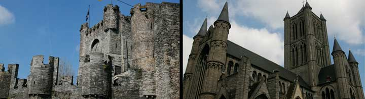Izquierda: Castillo de los Condes de Gante. Derecha, iglesia de San Nicolás.