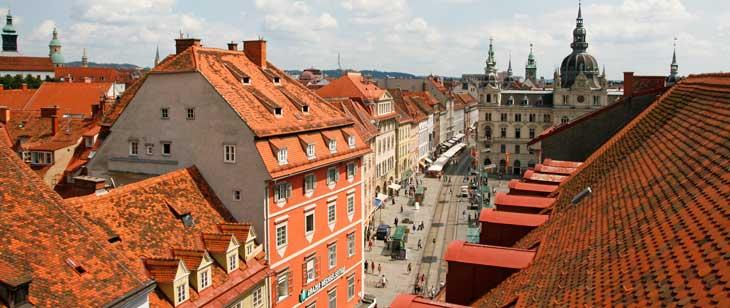 Vistas de Graz desde la terraza de los almacenes Kastner & Öhler