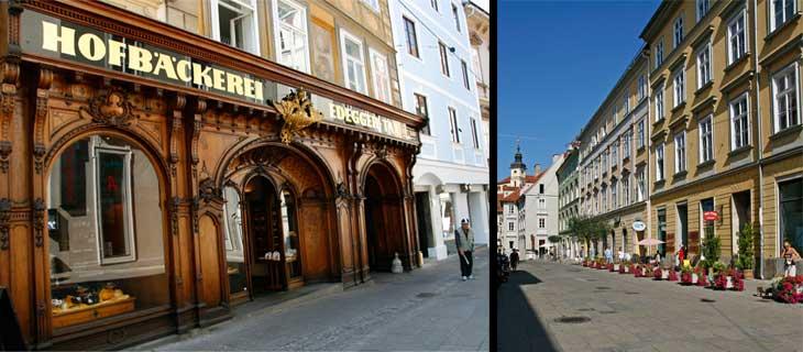 Izquierda, panadería palatina Hofbäckerei Edegger-Tax. Derecha, Graz está llena de tranquilas calles y plazas ideales para tomar un aperitivo, comer o cenar