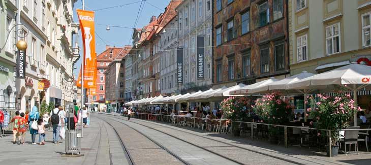 Herrengasse, arteria principal de la ciudad de Graz