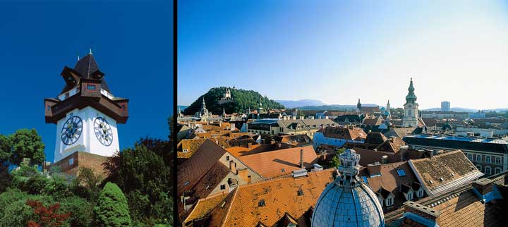 Izquierda torre del Reloj; derecha vistas de Graz desde el Schlossberg/ Oficina de Turismo de Graz