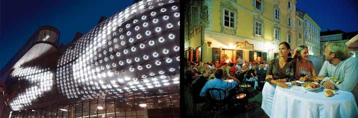 Izquierda, foto nocturna del Kunsthaus; derecha, la vida nocturna de Graz es muy animada/ Oficina de Turismo de Graz