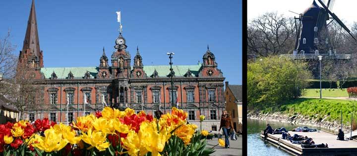 Izquierda, plaza del Ayuntamiento. Derecha, Malmö es una ciudad llena de parques y jardines.