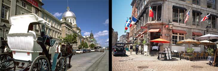 Izquierda, calesa en la Comune Street. Derecha, Viejo Montreal.