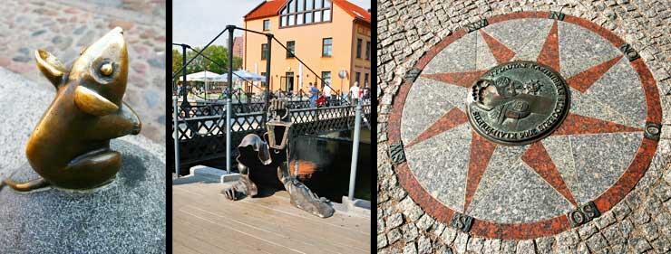 Izquierda: famoso ratón del centro de Kláipeda al que dicen que hay que susurrarle los deseos. Centro, famosa escultura de un fantasma saliendo del agua en el puerto de Kláipeda. Derecha, detalle del suelo de la ciudad