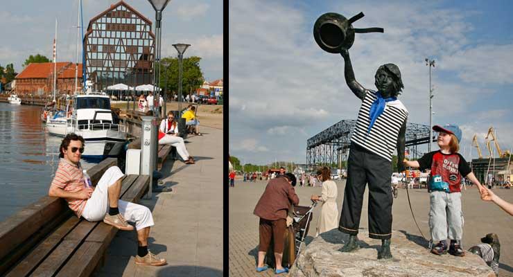 Izquierda, puerto de Kláipeda. Derecha, escultura del marinero con su perro en el puerto de esta ciudad de Lituania