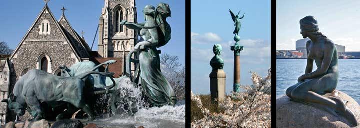 Izquierda, iglesia inglesa y fuente Gefion. Derecha, estatua de la Sirenita en Langelinie