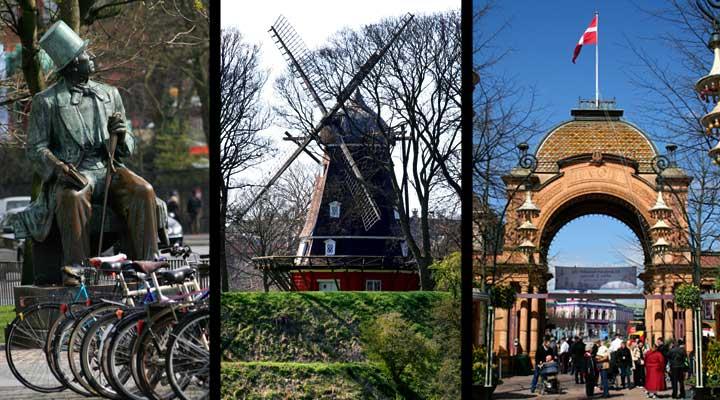 Izquierda, estatua de Hans Christian Andersen. Centro, molino en Kastellet. Derecha, entrada principal del parque de atracciones Tívoli