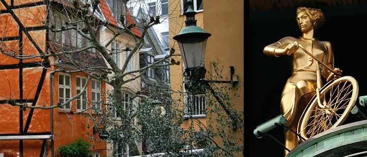 Izquierda calle Pistolstræde. Izquierda: Chica en bicicleta en Kickshuset (Plaza del Ayuntamiento)
