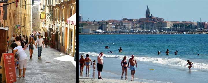 Izquierda, calle del núcleo antiguo de L' Alguer. Derecha, playa del Lido, una de las más largas de Cerdeña.