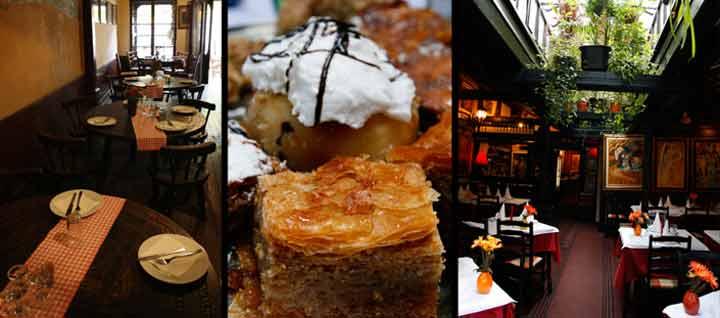 Foto<br />izquierda: Restaurante ?. Centro: la gastronomía serbia es deliciosa.<br />Derecha: típica kafana de la calle Skadarlija.