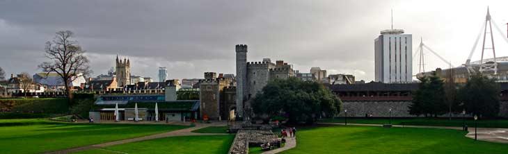 Vistas de Cardiff desde la torre normanda del castillo