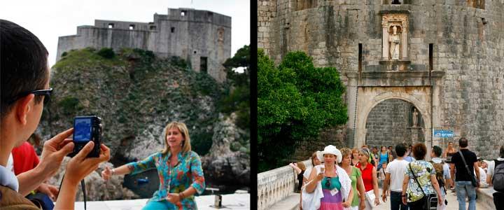 Izquierda, fortaleza de Lovrijenac (San Lorenzo). Derecha, puerta de Pile
