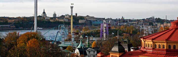 Vistas del parque de atracciones Gröna Lund, en Skansen