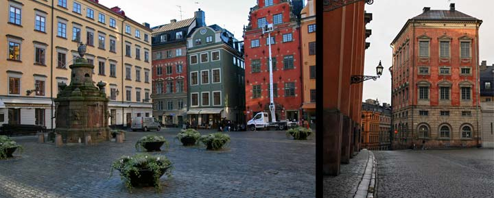 Izquierda, plaza Stortorget, centro neurálgico del Gamla Stan. Derecha, el Gamla Stan es un barrio antiguo formado por calles empedradas y callejuelas de estilo medieval