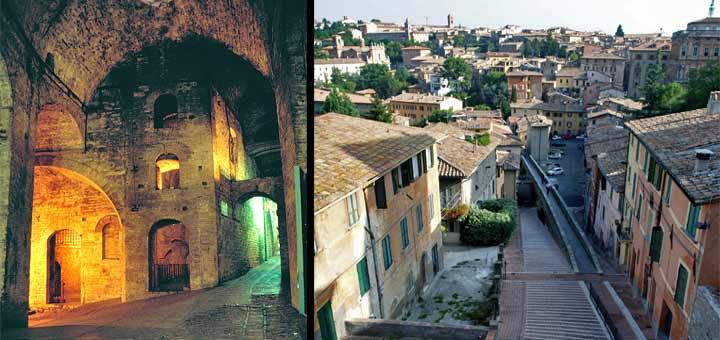 La Rocca Paolina, símbolo del poder papal, y el acueducto romano en Via Appia (© Ayuntamiento de Perugia)
