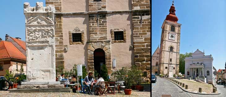 Izquierda, orfeo de Ptuj. Derecha, torre de la ciudad