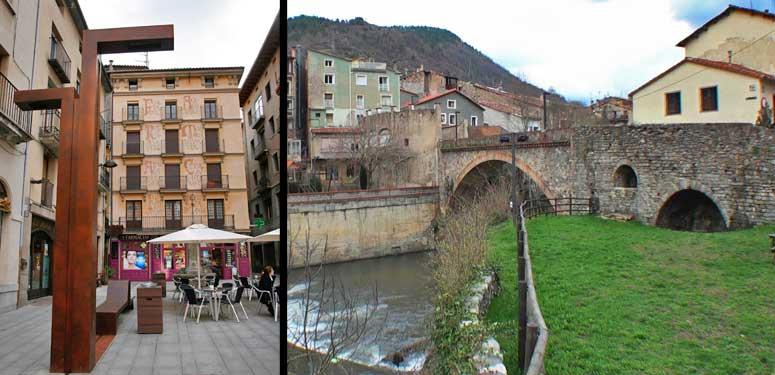 Izquierda, plaza de Sant Eudald. Derecha, uno de los puentes de la localidad de Ripoll