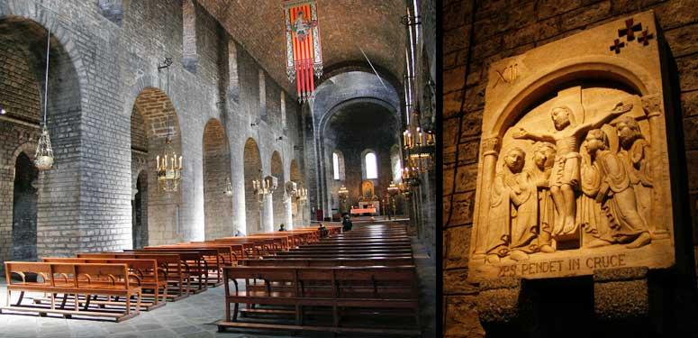 Izquierda, interior de la iglesia de Santa María de Ripoll. Derecha, detalle escultórico del interior de la iglesia