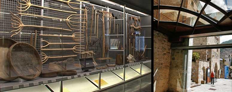 Izquierda, instrumentos de labranza que usaban antaño los campesinos. Derecha, el Museo Etnográfico de Ripoll se encuentra en la Plaza Abat Oliba