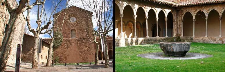 Izquierda, monasterio de Sant Joan de les Abadesses. Derecha, claustro del monasterio y fuente del siglo XII