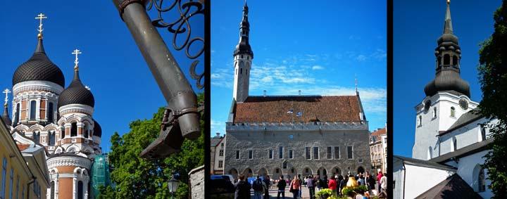 Izquierda, catedral ortodoxa de Alexander Nevski; centro, Ayuntamiento de Tallin; derecha, iglesia del Domo