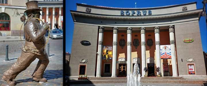 Izquierda, famosa estatua del Deshollinador Feliz. Derecha, edificio que albergaba el cine soviético.
