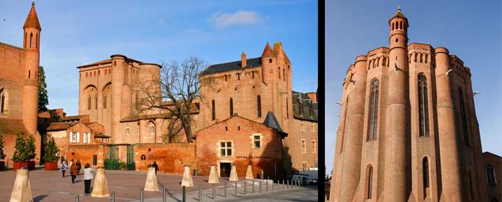 Izquierda, Palacio de la Berbie. Derecha, catedral de Albi