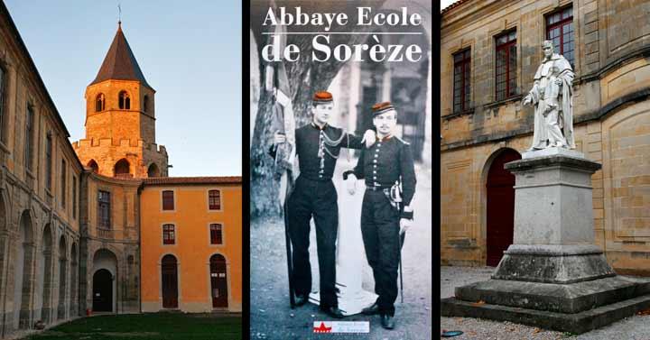 Izquierda, abadía de La Sorèze; centro, la Abadía-Escuela de La Sorèze fue una antigua escuela militar creada bajo el reinado de Luis XVI. Derecha, estatua del padre Lacordaire