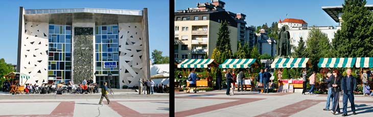 Izquierda, centro cultural de Velejne, cuya arquitectura es la típica de los años del socialismo. Derecha, plaza mayor de Velejne con la estatua de Tito y el castillo al fondo