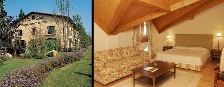 Izquierda, Centro del Vino Villa Lucía. Derecha, suite del Hotel Villa de Laguardia
