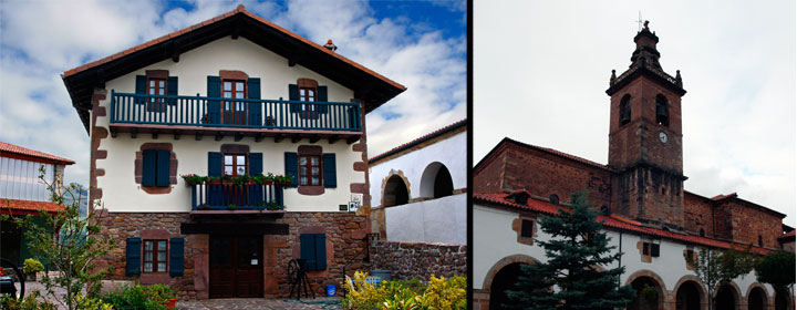 Casa Gontxea, establecimiento rural del valle de Baztán ubicado en Arizkun. Derecha, torre campanario de la iglesia de San Juan Bautista en Arizkun