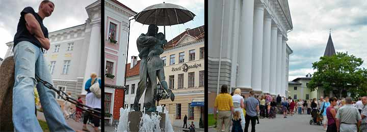 Izquierda, Tartu acoge durante el invierno a infinidad de estudiantes universitarios. Centro, Estatua de los Amantes, una de las más simbólicas de la ciudad. Derecha, Tartu cuenta con siete universidades