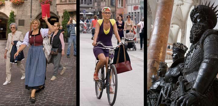 Izquierda, señora con atuendo típico tirolés; centro, en los meses cálidos muchos habitantes circulan por Innsbruck en bicicleta; derecha, estatuas de la iglesia de la Corte