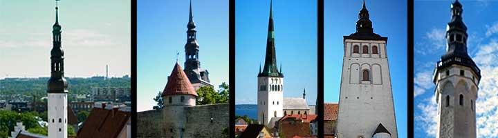 Algunas de las torres de los monumentos más emblemáticos de Tallin