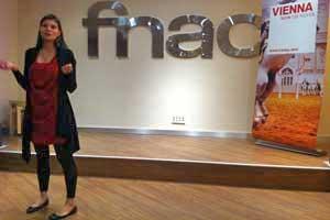 La responsable de prensa para España de la Oficina de Turismo de Viena, Olivia Divkjak, durante la presentación de esta mañana