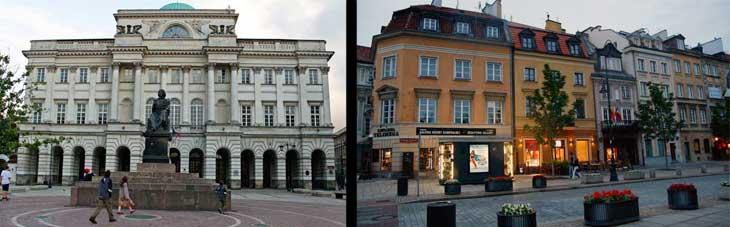 Izquierda, Palacio Staszic. Enfrente la escultura de Nicolás Copérnico. Derecha, Edificios de la calle Krakowskie Przedmieście