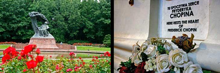 Izquierda, escultura de Chopin en el Parque Lazienki. Derecha, Detalle del lugar donde está enterrado el corazón de Chopin, en la iglesia de la Santa Cruz