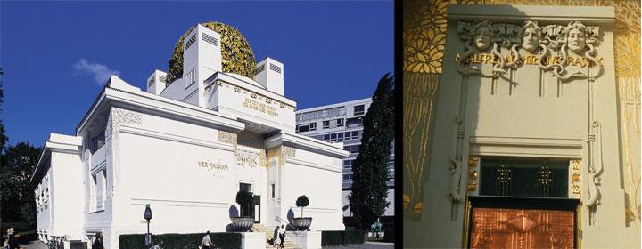 Edificio Secession y detalle de la puerta del mismo