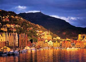 Atardecer en Bergen. Bergen Tourist Board © Willy Haraldsen visitBergencom
