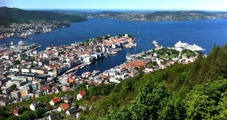 Vistas de Bergen desde el monte Fløyen/Foto María Jesús Tomé